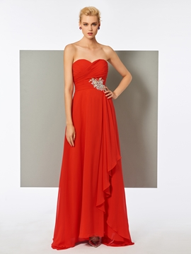 Cute A Line Sweetheart Beaded Pleats Long Evening Dress
