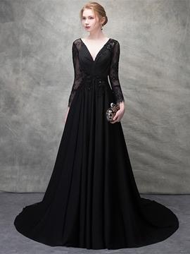Cute A Line V Neck Lace Long Sleeve Evening Dress