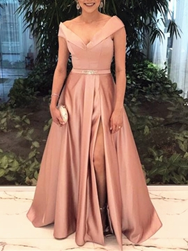 Cute A-Line V-Neck Off The Shoulder Beaded Evening Dress With Slit