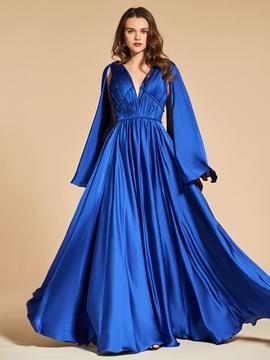 Cute A Line V Neck Pleats Backless Evening Dress