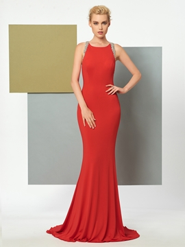 Cute Beaded Scoop Neckline Backless Mermaid Evening Dress
