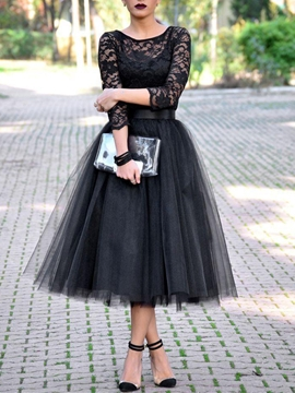 Cute Chic A-Line Scoop Lace Tea-Length Evening Dress