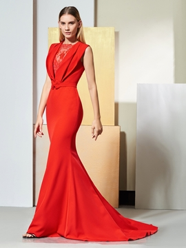 Cute Elegant Red Mermaid Evening Dress With Sweep Train