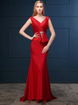 Cute Elegant Sheath V Neck Deep Back Floor Length Evening Dress