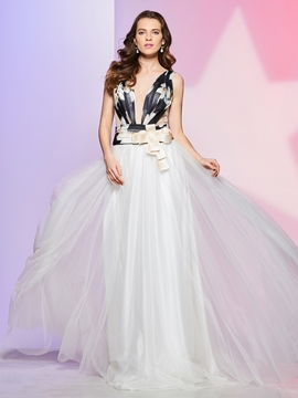 Cute Fancy A Line Scoop Neck Print Floor Length Prom Dress
