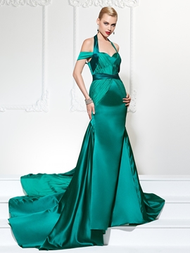 Cute Halter Off The Shoulder Court Train Mermaid Evening Dress