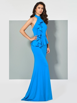 Cute Halter Spandex Mermaid Evening Dress With Sweep Train
