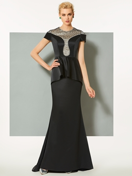 Cute Jewel Beading Lace Short Sleeves Mermaid Evening Dress