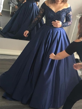 Cute Off The Shoulder Long Sleeves Appliques Beaded Evening Dress
