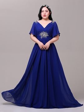 Cute Plus Size A-Line Cap Sleeves Beading Evening Dress
