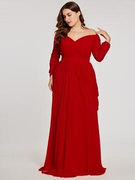 a1e5614dde3 Cute Plus Size Off-the-Shoulder Long Sleeves Evening Dress - Cute ...