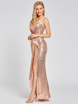 Cute Presale Scoop Neck Sequins Sheath Evening Dress