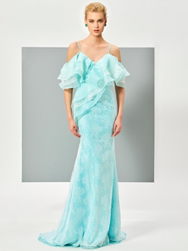 Cute Princess Spaghetti Straps Ruffles Lace Mermaid Evening Dress