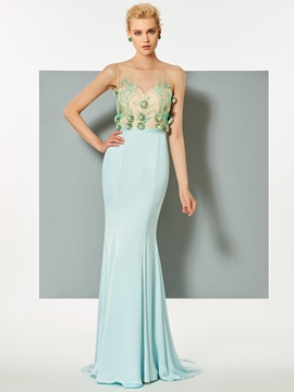 Cute Scoop Neck Flowers Beaded Sweep Train Mermaid Evening Dress