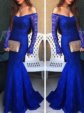 Cute Sexy Off The Shoulder Long Sleeve Lace Mermaid Evening Dress