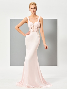 Cute Sexy Straps Sleeveless Sweep Train Mermaid Evening Dress