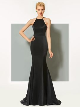 Cute Sheath Halter Long Evening Dress With Bowknot