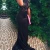 Cute Sheath High Neck Beading Lace Evening Dress