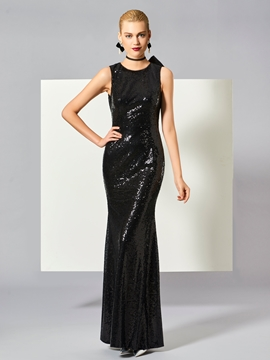 Cute Sheath Jewel Neck Bowknot Button Sequins Long Evening Dress