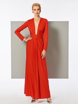 Cute Sheath Long Sleeve Deep Neck Pleats Long Evening Dress