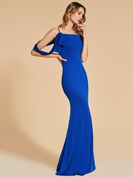 Cute Sheath Spaghetti Straps Floor Length Long Evening Dress