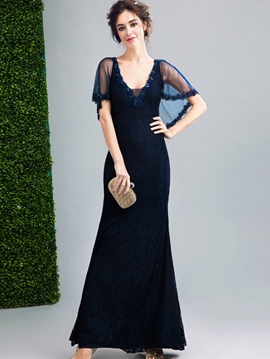 Cute Sheath V Neck Floor Length Long Lace Evening Dress With Beadings