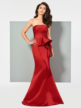 Cute Strapless Mermaid Evening Dress With Flower Decoration