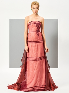 Cute Stylish A Line Strapless Applique Floor Length Evening Dress With Train