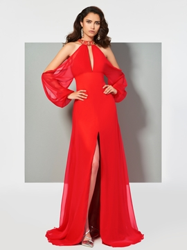 Cute Stylish Long Sleeve Beaded Halter A Line Evening Dress With Slit