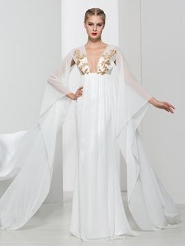 Cute V Neck Sequins Unique Design Evening Dress