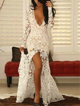 Cute V-Neck Split-Front Long Sleeves Lace Evening Dress