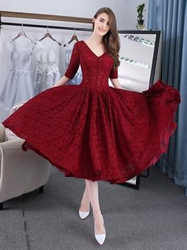 Evening Dress A-Line V-Neck Lace Tea-Length