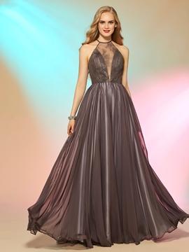 Fancy A Line Halter Lace Floor Length Long Prom Dress