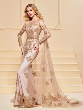 Mermaid Applique Long Sleeve Evening Dress With Watteau Train