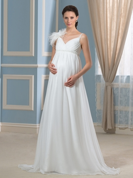 Pretty V Neck Beadings Chiffon Maternity Wedding Dress