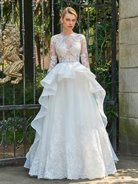 Sexy Jewel Long Sleeves Appliques A Line Wedding Dress
