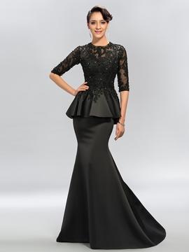Sexy Trumpet Jewel Applique Half Sleeves Evening Dress