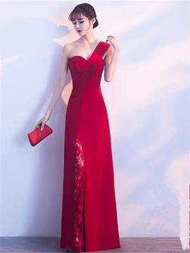 Sheath One Shoulder Lace Slit Long Evening Dress