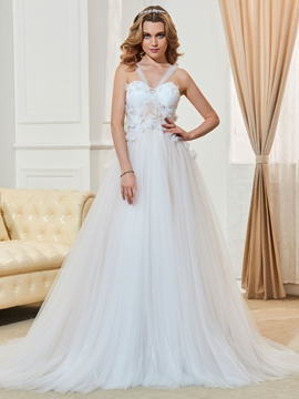 Straps A Line Appliques Tulle Wedding Dress