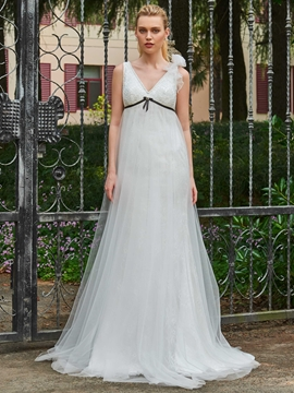 V Neck Empire Sheath Tulle Wedding Dress