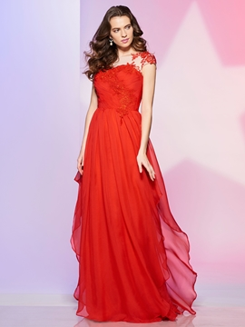 A Line Applique Chiffon Long Prom Dress With Short Sleeve