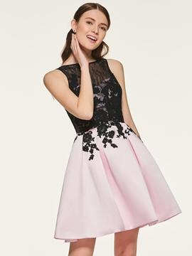 A Line Backless Short Bridesmaid Dress