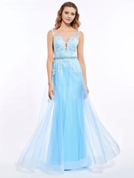 A-Line Bateau Appliques Button Lace Sashes Prom Dress