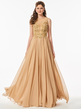 A Line Beaded Scoop Neck Long Prom Dress With Sheer Back