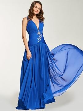 A Line Deep V Neck Pleats Backless Prom Dress