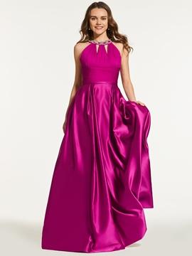 A Line Halter Crystal Beaded Pleats Prom Dress