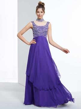 A-Line High Neck Cap Sleeves Beading Floor-Length Prom Dress