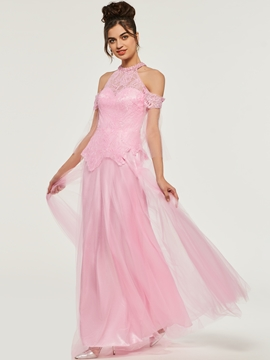 A-Line Lace High Neck Long Evening Dress