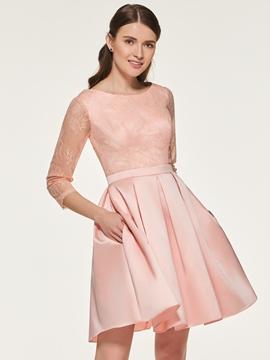 A Line Lace Short Bridesmaid Dress
