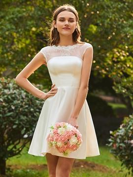 A Line Matte Satin Knee Length Bridesmaid Dress